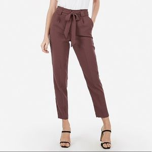 Express High Rise Paper Bag Ankle Pant Thornberry